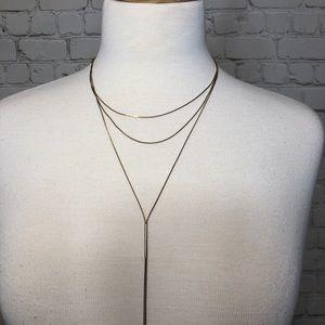 Three Strand Necklace Adjustable Gold H&M